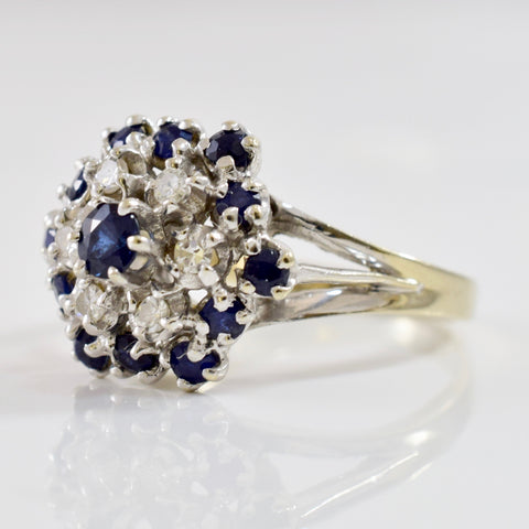 Sapphire and Diamond Cluster Ring | 0.12 ctw SZ 6 |