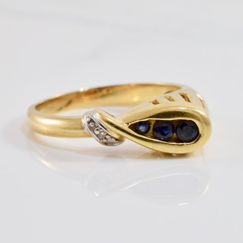 Sapphire and Diamond Loop Ring | 0.01 ctw SZ 6 |