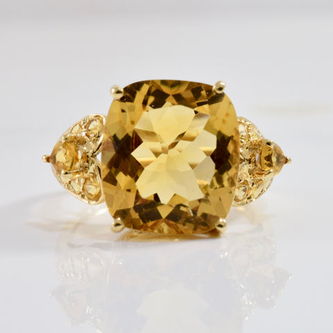 Elegant Cushion Cut Citrine Ring | SZ 7 |