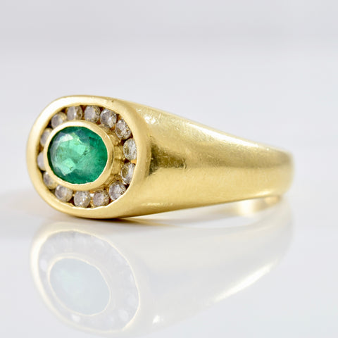 Emerald and Diamond Ring | 0.30 ctw SZ 10 |