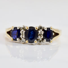Three Stone Sapphire and Diamond Ring | 0.05 ctw SZ 6.75 |