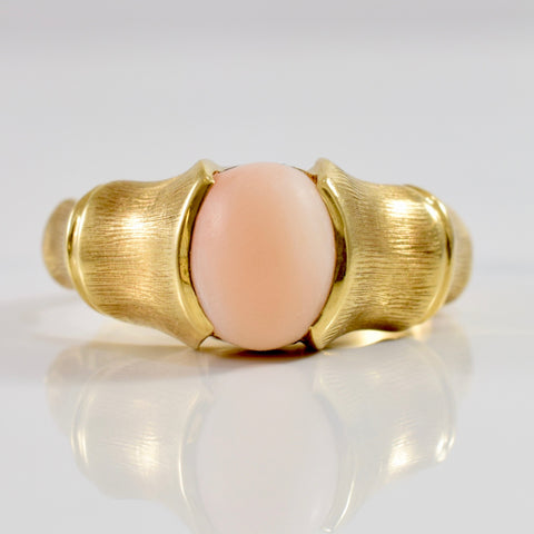 Half Bezel Set Coral Ring | SZ 7 |