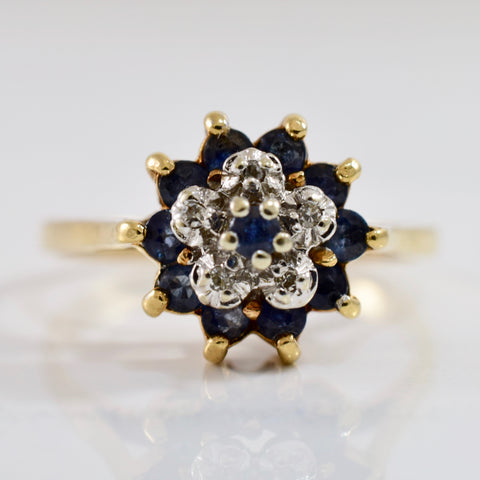 Diamond and Sapphire Cluster Ring | 0.02 ctw SZ 6.5 |