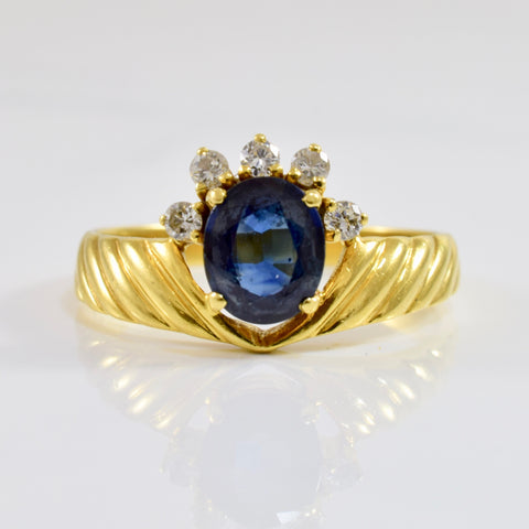 Sapphire and Diamond Crown Ring | 0.15 ctw SZ 8.25 |