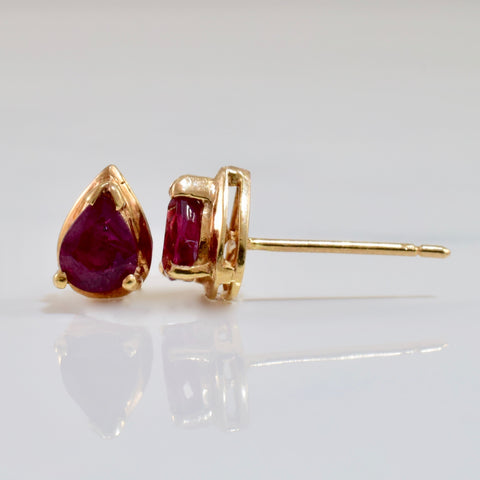 Pear Cut Ruby Studs