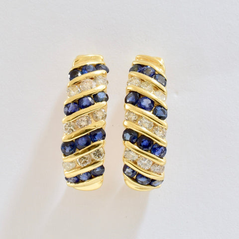 Channel Set Sapphire and Diamond Drop Earrings | 0.56 ctw |