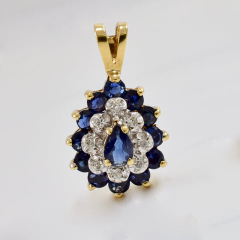 Teardrop Sapphire and Diamond Pendant | 0.04 ctw |