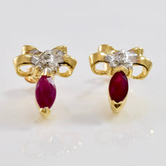 Diamond Bow and Ruby Earrings | 0.06 ctw |