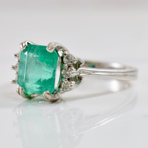 Retro Era Emerald & Diamond Engagement Ring | 0.10ctw, 2.80ct | SZ 9 |