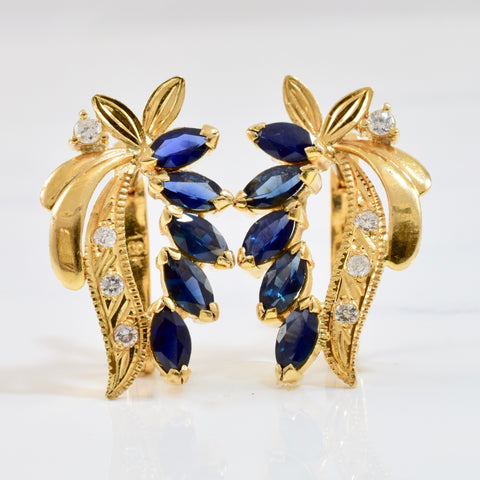 Sapphire and Diamond Drop Earrings | 0.16 ctw |
