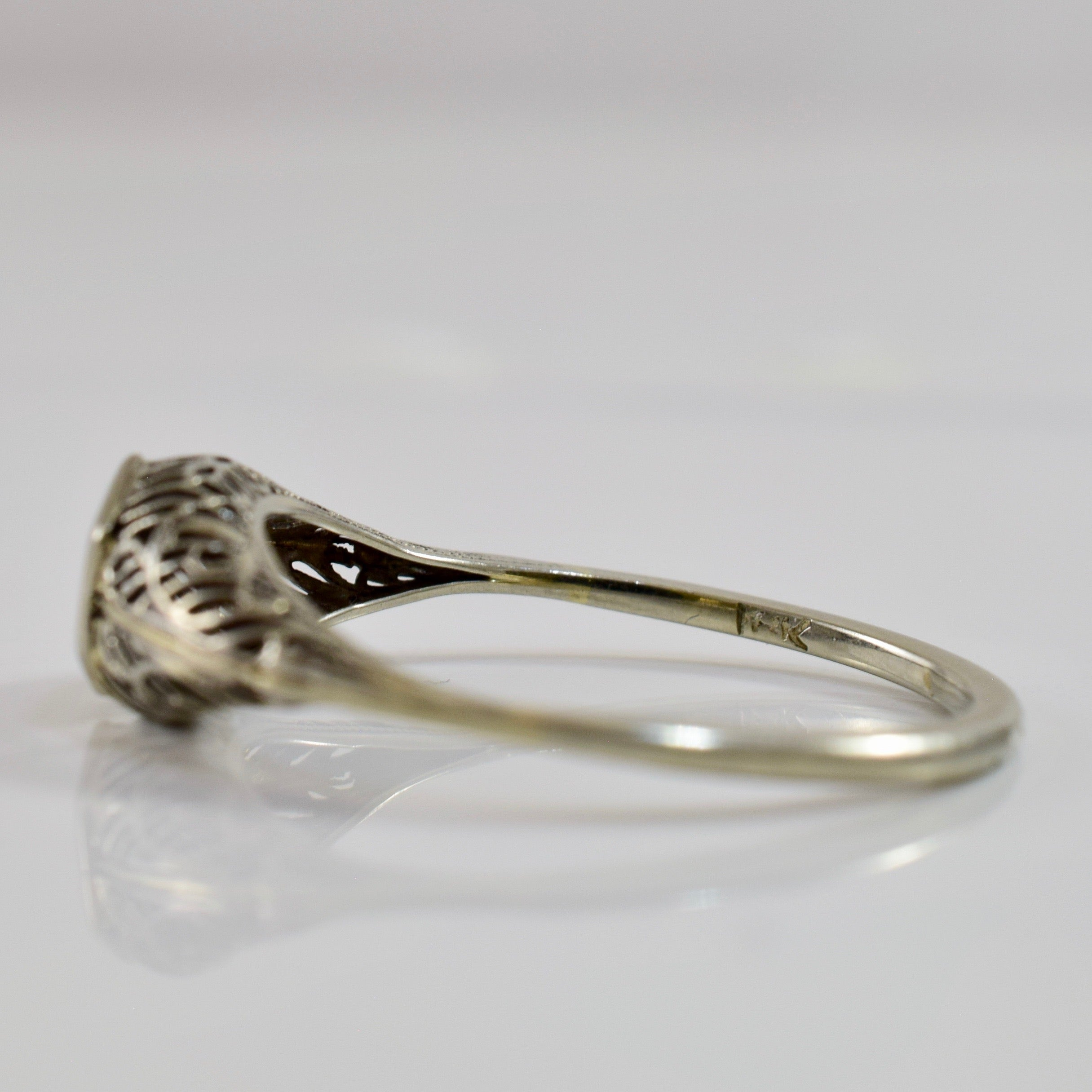 Art Deco Filigree Diamond Ring | 0.04 ctw SZ 9 |