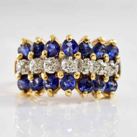 High Set Diamond and Sapphire Ring | 0.03 ctw SZ 7 |
