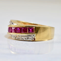 Ruby and Diamond Ring | 0.06 ctw SZ 6.25 |