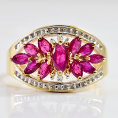 Ruby and Diamond Cluster Ring | 0.01 ctw SZ 8.25 |