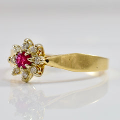 High Set Diamond and Ruby Ring | 0.16 ctw SZ 11.5 |