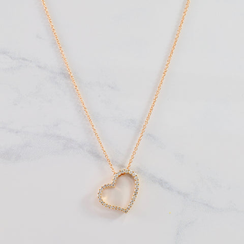 'Birks' Rose Gold Diamond Heart Necklace | 0.22 ctw SZ 18"