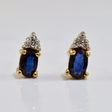 Diamond and Sapphire Stud Earrings | 0.04 ctw |