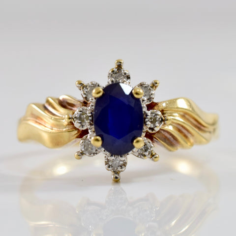 Sapphire and Diamond Halo Ring | 0.03 ctw SZ 6 |