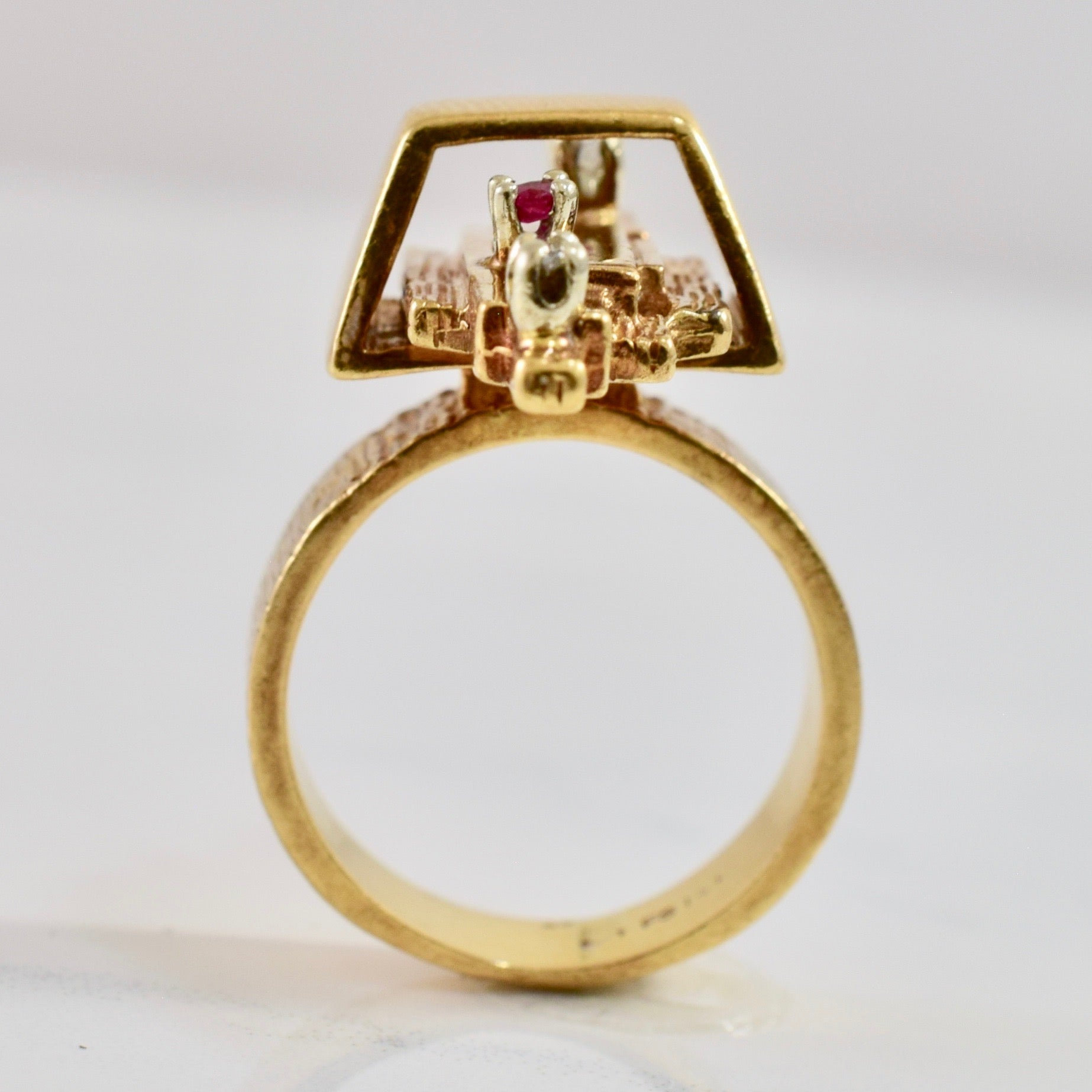 High Set Ruby and Diamond Ring | 0.04 ctw SZ 5 |