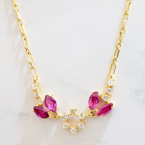 Purplish Pink Sapphire and Diamond Necklace | 0.27 ctw SZ 18"