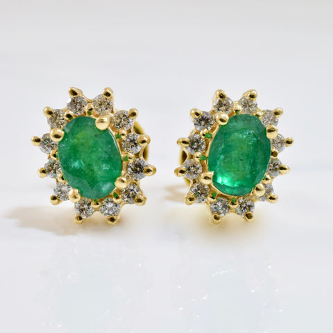 Emerald and Diamond Cluster Earrings | 0.50 ctw |