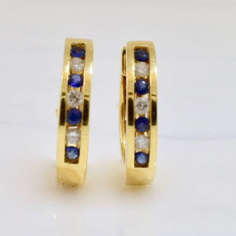 Channel Set Sapphire and Diamond Hoops | 0.12 ctw |