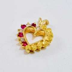 Ruby, Diamond, and Nugget Style Heart Pendant | 0.12 ctw |
