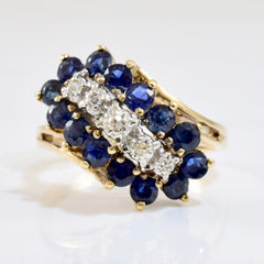 Sapphire and Diamond Bypass Ring | 0.02 ctw SZ 7 |