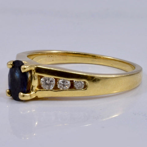 Sapphire Ring with Channel Set Accent Diamonds | 0.18 ct SZ 6 |