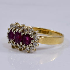Ruby and Diamond Cluster Ring | 0.25 ctw SZ 5.25 |
