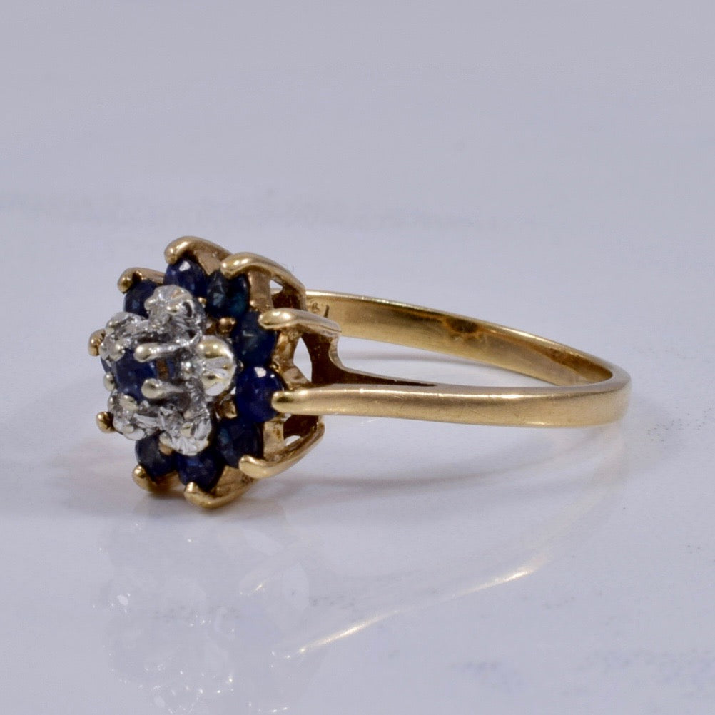 Sapphire and Diamond Cluster Ring | 0.02 ctw SZ 7 |