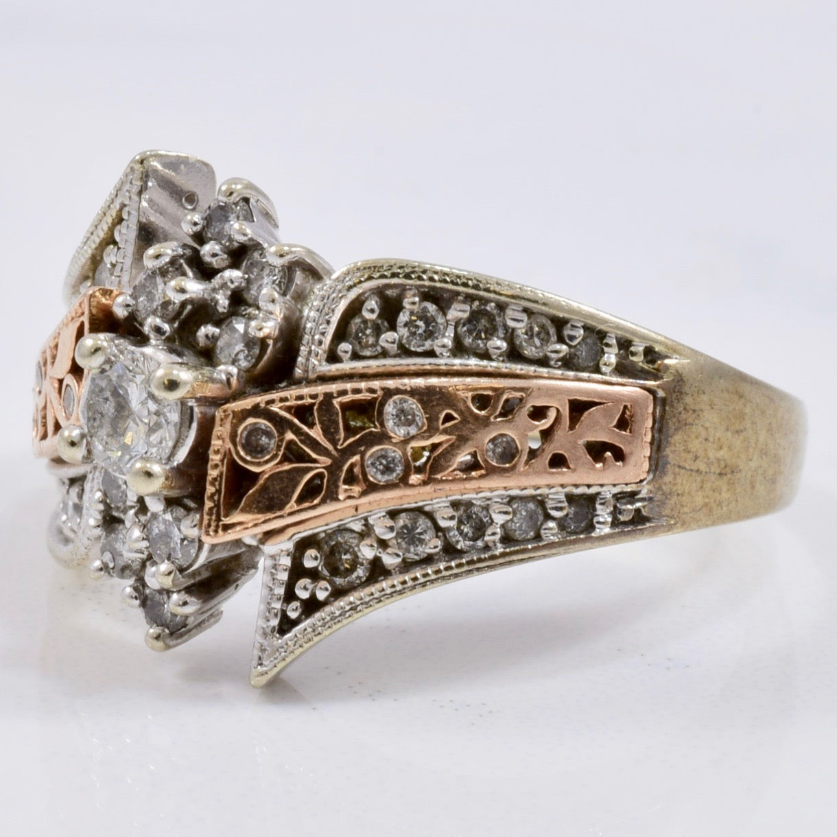 Rose and White Gold Diamond Ring | 0.40 ctw SZ 8 |