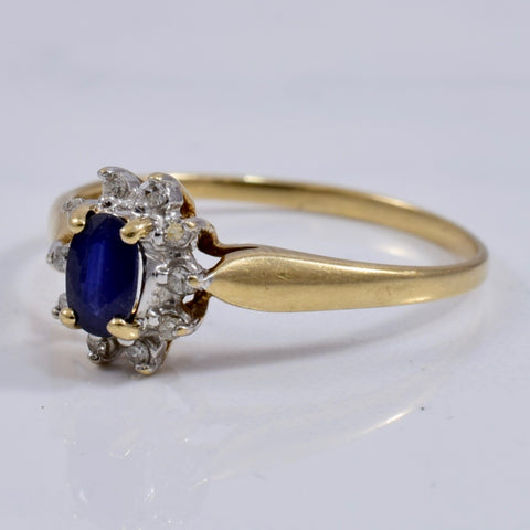 Sapphire and Diamond Cluster Ring | 0.06 ctw SZ 7 |