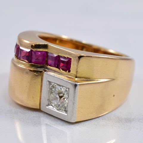 Diamond and Ruby Square Ring | 0.32 ct SZ 5.75 |