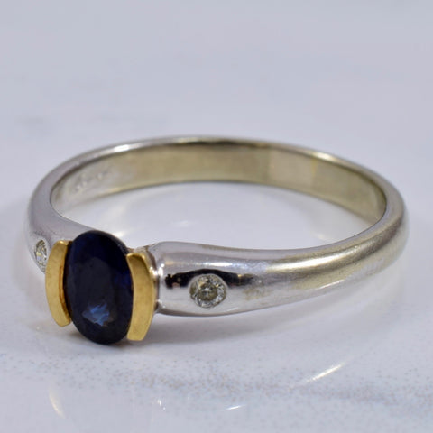 Sapphire Ring with Diamond Accent | 0.05 ctw SZ 7.5 |
