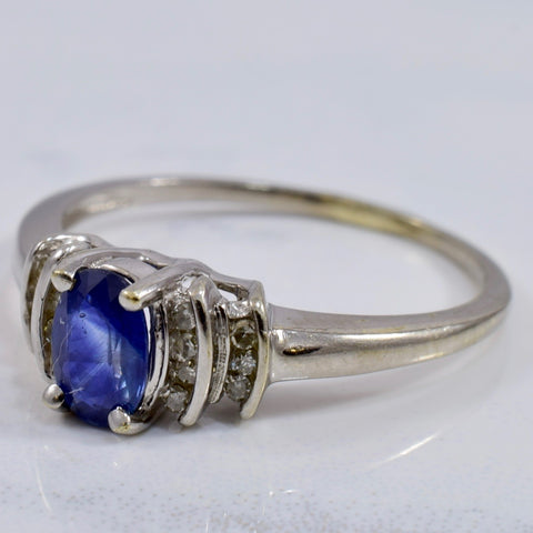 Sapphire and Diamond Accent Ring | 0.07 ctw SZ 6.5 |