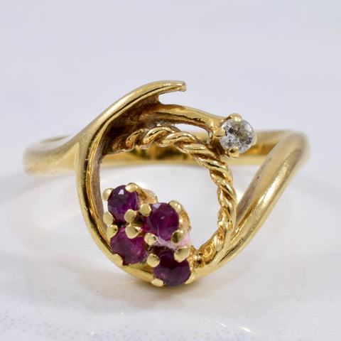 Diamond and Ruby Rope Ring | 0.03 ctw SZ 5.5 |