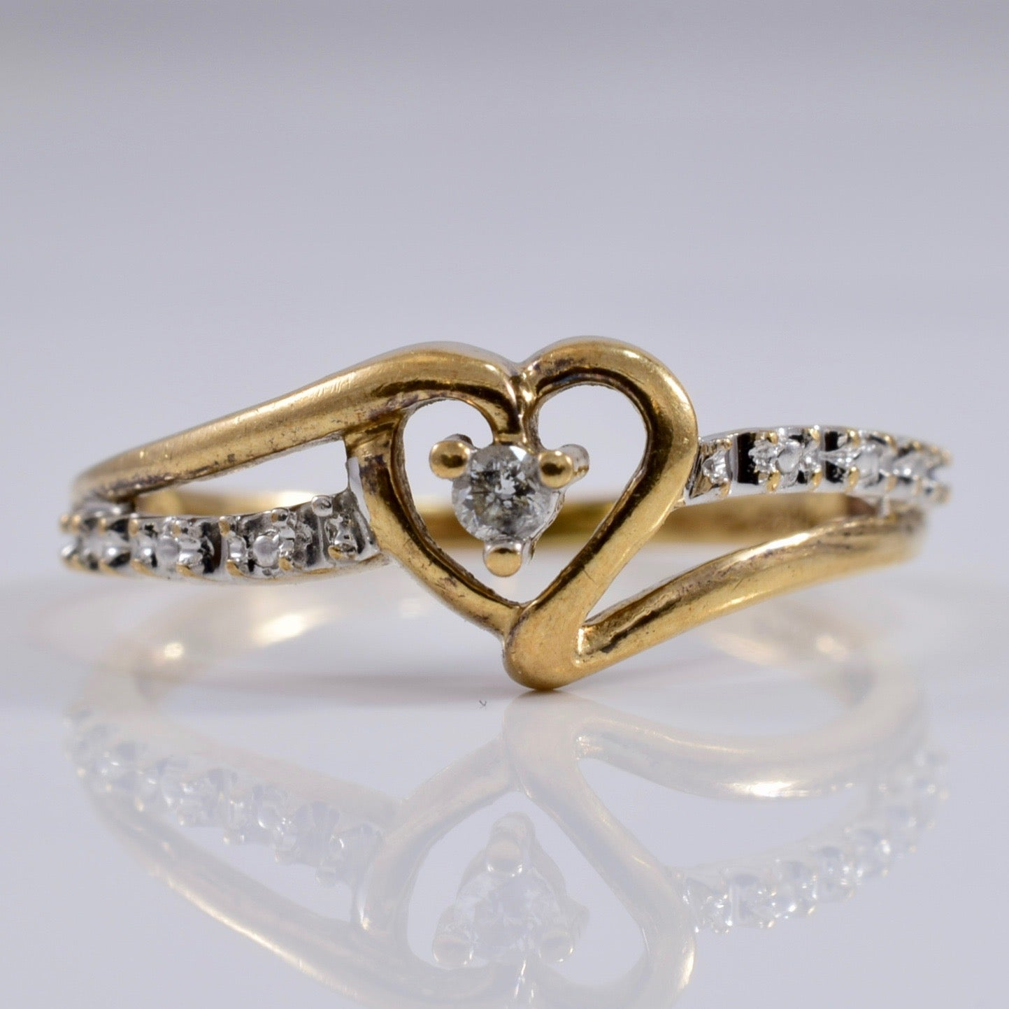 Heart Shaped Ring With Diamond Accents | 0.03 ctw SZ 5 |
