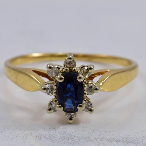 Prong Set Sapphire and Diamond and Ring | 0.08 ctw SZ 4.75 |