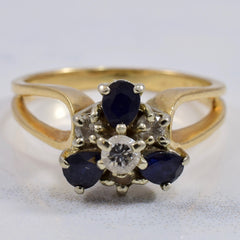 Diamond and Sapphire Cluster Ring | 0.22 ctw SZ 7.5 |