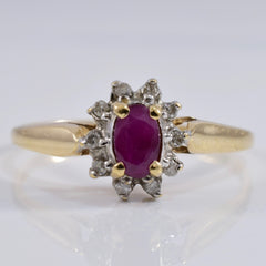 Ruby and Diamond Ring | 0.05 ctw SZ 6.75 |