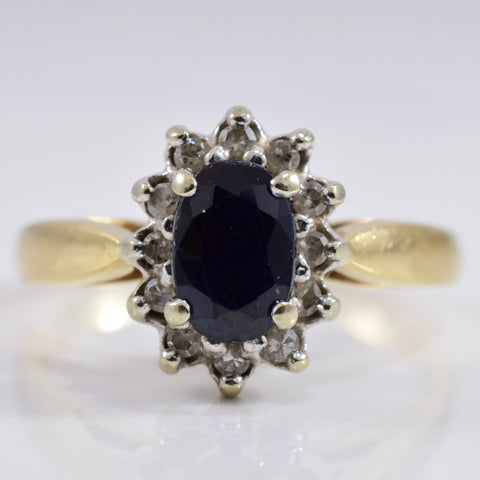 Sapphire and Diamond Cluster Ring | 0.10 ctw SZ 5 |
