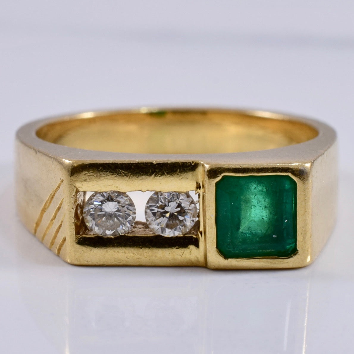 Bezel Set Emerald Ring with Channel Set Diamonds | 0.16ctw, 0.48ct | SZ 5.75 |