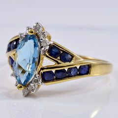 London Blue Topaz Ring with Accent Sapphires and Diamonds | 0.09 ctw SZ 9 |