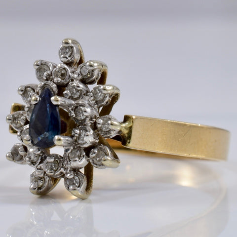 Sapphire and Diamond Cluster Ring | 0.15 ctw SZ 6.5 |