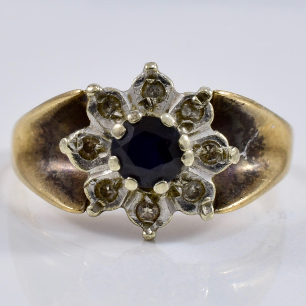Sapphire and Diamond Cluster Ring | 0.08 ctw SZ 4 |