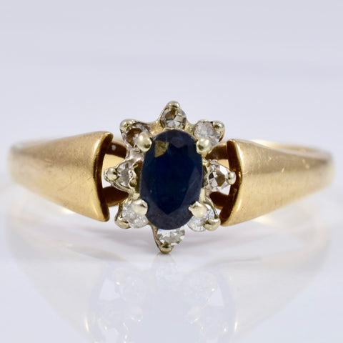 Sapphire and Diamond Cluster Ring | 0.12 ctw SZ 7.5 |