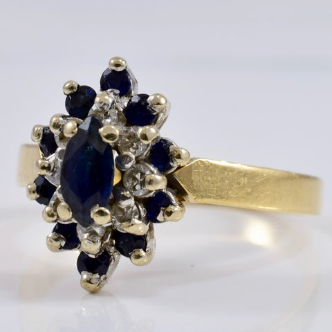 Diamond and Sapphire Cluster Ring | 0.14 ctw SZ 6 |