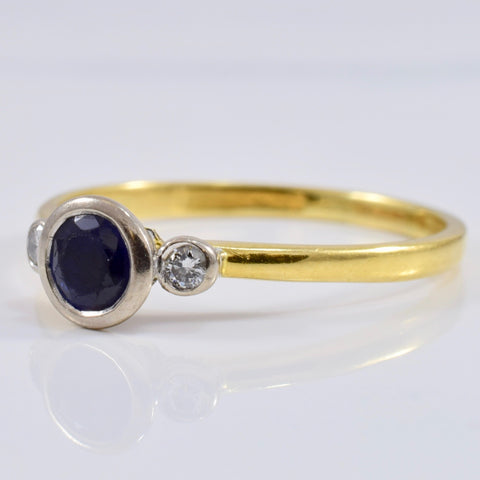 Bezel Set Sapphire Ring with Accent Diamonds | 0.06 ctw SZ 9.75 |