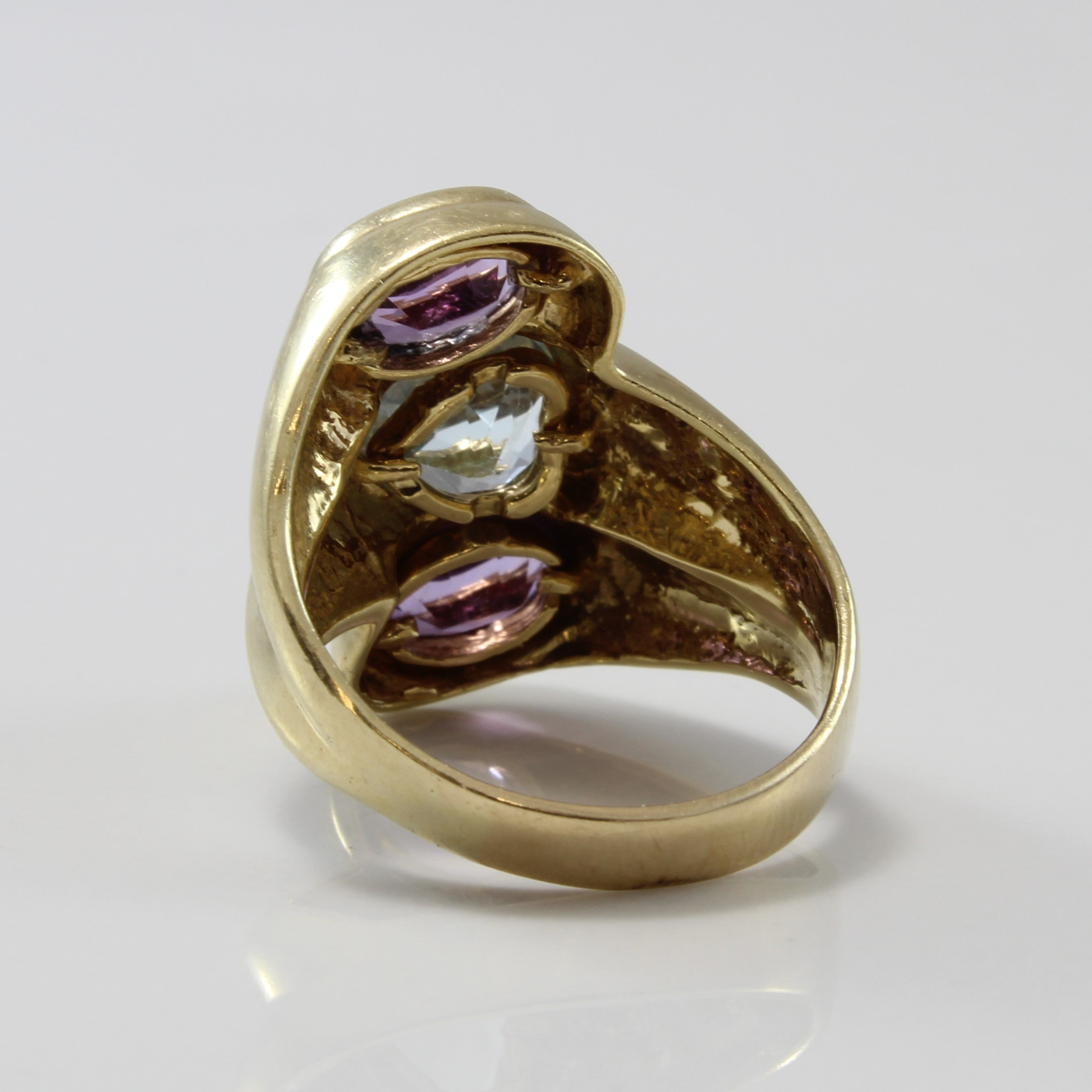 Heart Shaped Blue Topaz & Amethyst Bypass Ring | 2.50ctw | SZ 6 |